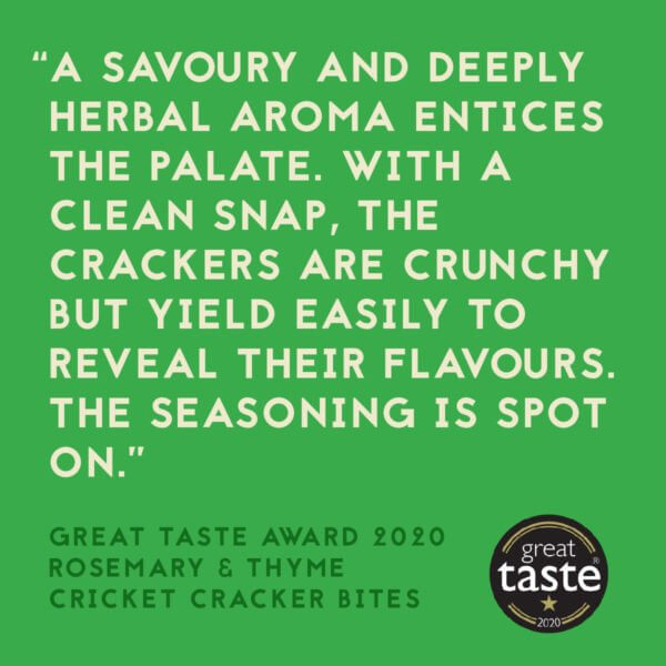 Small Giants Cricket Cracker Bites Rosemary & Thyme have been awarded the great taste award in 2020