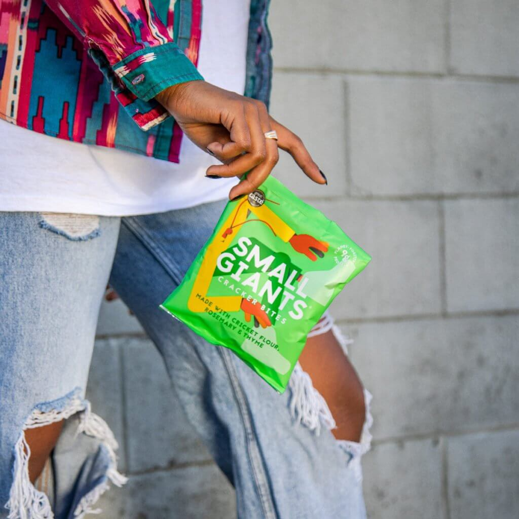 Small Giants Cricket Cracker Bites Rosemary & Thyme are packed in a single serve bag