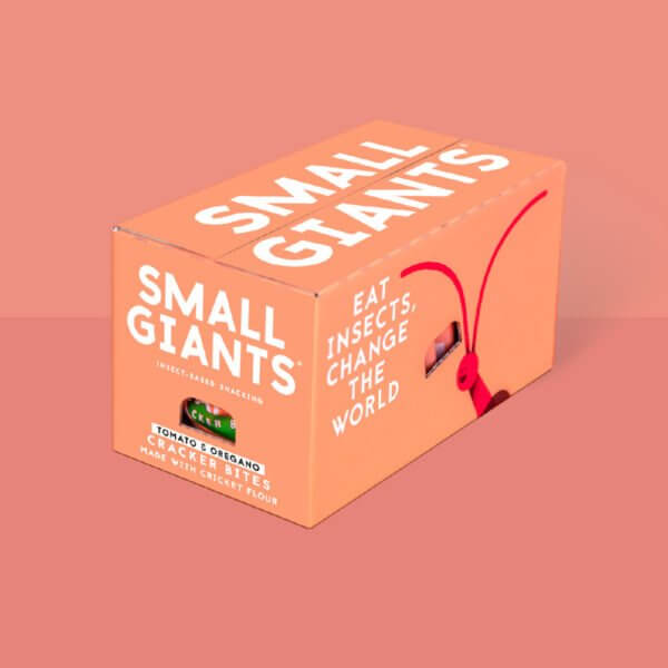 Small Giants Cricket Cracker Bites Tomato & Oregano packaging works well for shipping all over Europe, Italy and United Kingdom