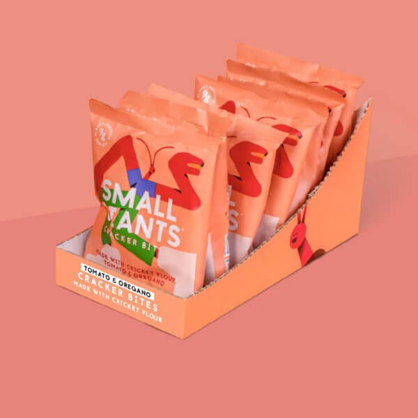 Small Giants Cricket Cracker Bites Tomato & Oregano are available in cases of 8 single-serve units