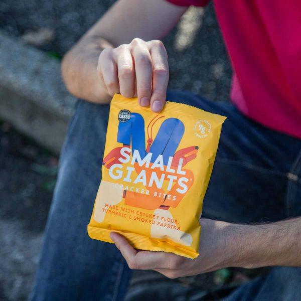 Small Giants Cricket Cracker Bites Turmeric & Smoked Paprika are sustainable snacks