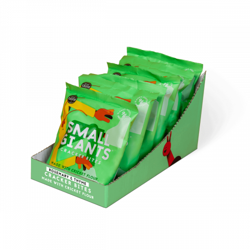 Small Giants Cricket Cracker Bites Rosemary & Thyme are available in cases of 8 units