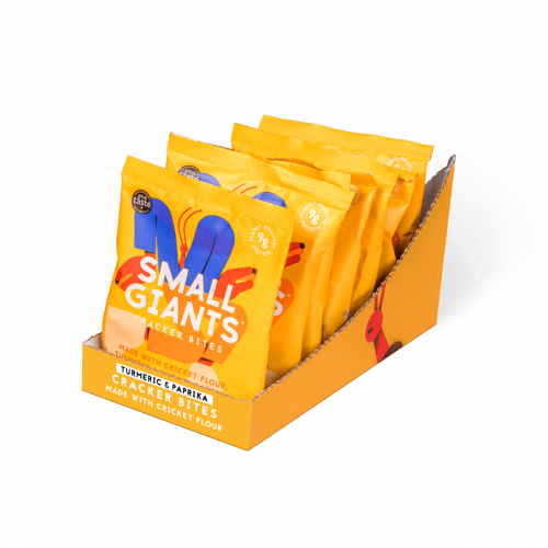 Small Giants Cricket Cracker Bites are available in a case of 8 units